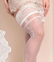 Ballerina Plus Size Lace Top Holdups in White